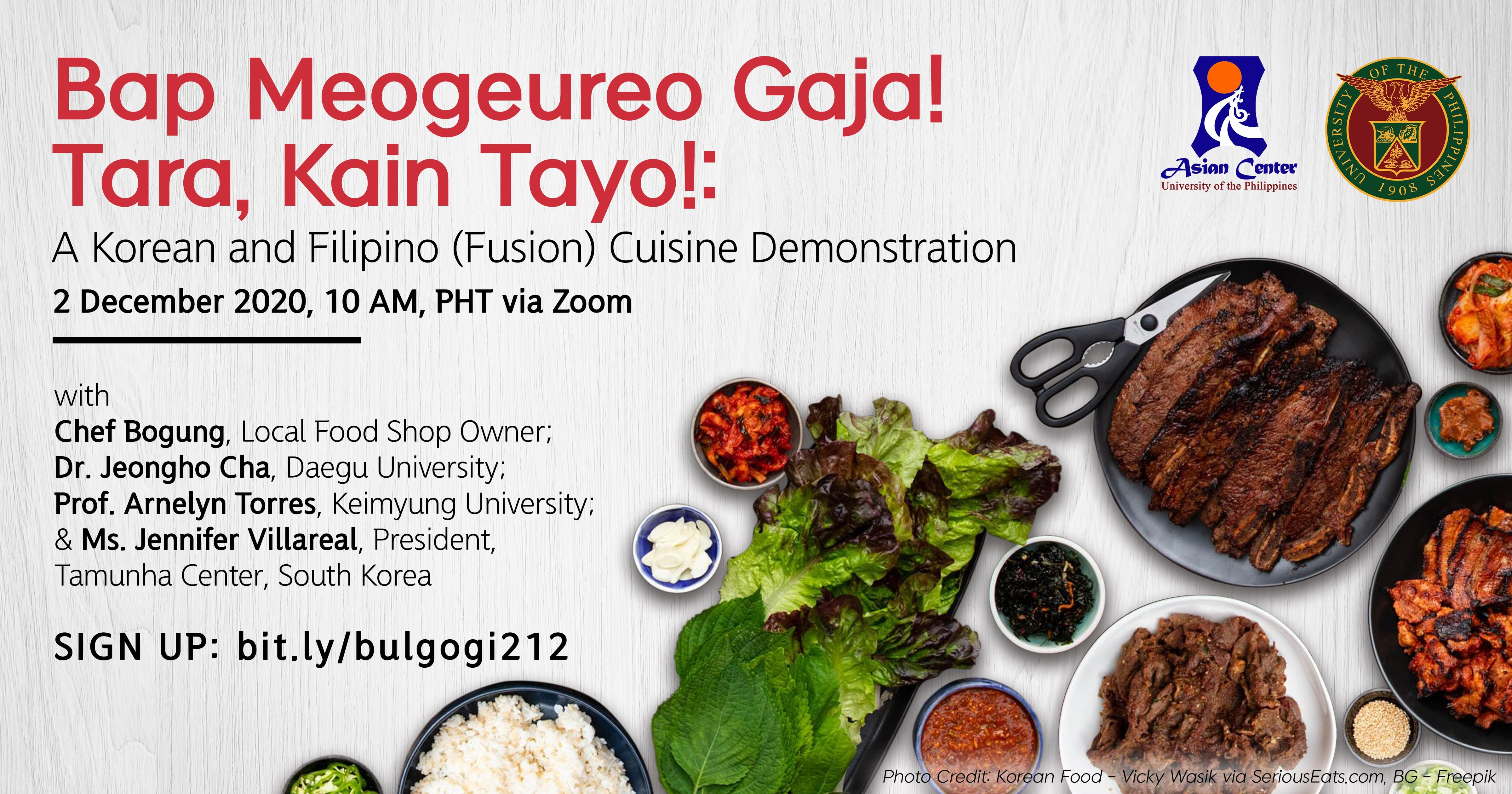 Bap Meogeureo Gaja! Tara, Kain Tayo! : A Korean and Filipino (Fusion) Cuisine Demonstration (2 Dec 2020)