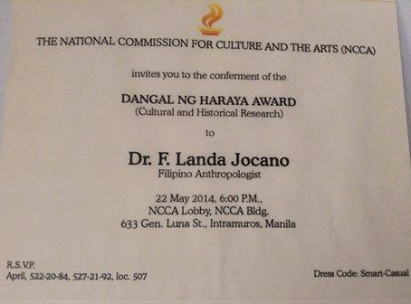 Ncca Gives Highest Honor To Dr Jocano Former Professor Emeritus At The Asian Center